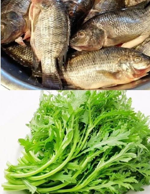 Canh cải cúc nấu cá rô