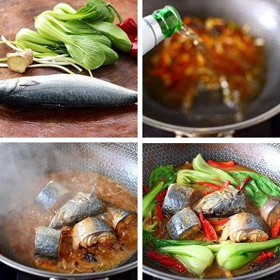 Cá thu Nhật xốt bia ớt sừng, rau cải chíp